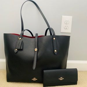 COACH black and red pebbled leather tote
